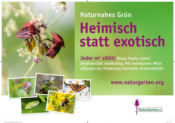Naturgartenschild: Naturnahes Grün - heimisch statt exotisch