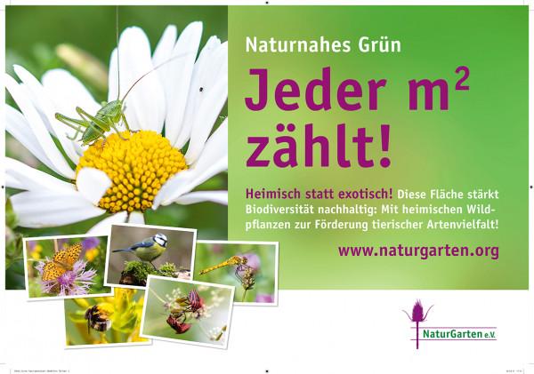 Naturgartenschild: Naturnahes Grün - jeder m² zählt